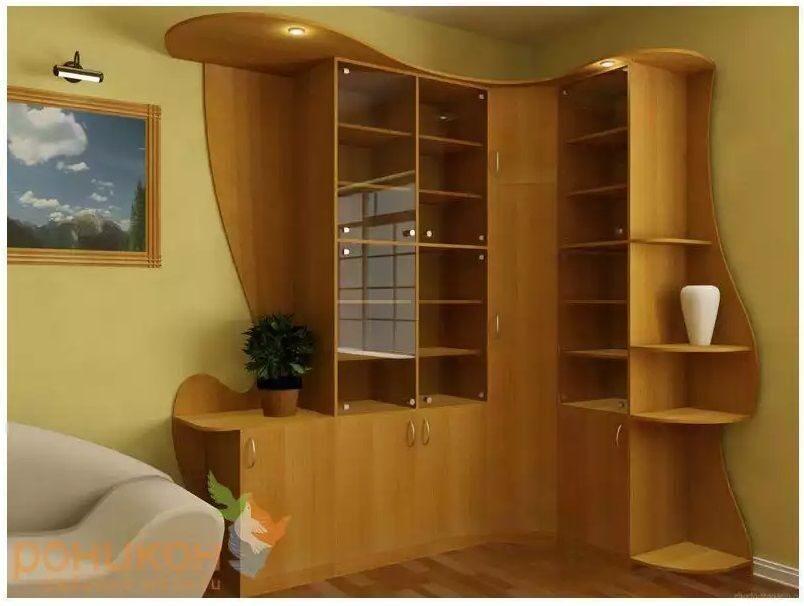 Купить угловой шкаф стеллаж с дверцами для книг: фото.